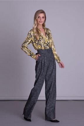 GIZIA CASUAL Kadın Siyah Kemerli Bol Paça Antrasit Kumaş Pantolon