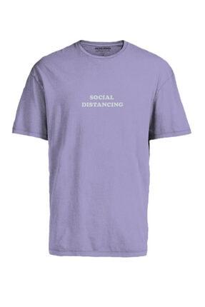 Jack & Jones Erkek Mor Bisiklet Yaka T-shirt 12189118