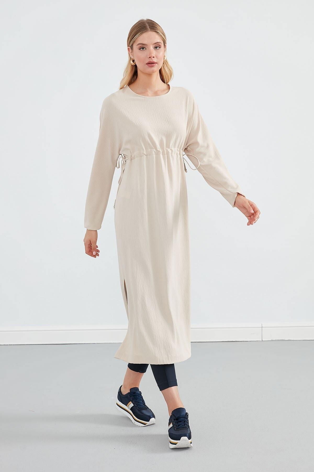 Journey Kadın Bej Sıfır Yaka Belden Büzgülü Yanlardan Bağlama Detaylı Uzun Kol Elbise 1