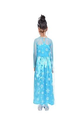 DEHAMODA Kız Çocuk Uzun Kol Simli Frozen Mavi Elsa Elbise