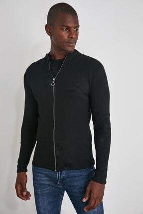 TRENDYOL MAN Siyah Erkek Uzun Kollu Önü Fermuarlı Triko Hırka TMNAW20HI0201