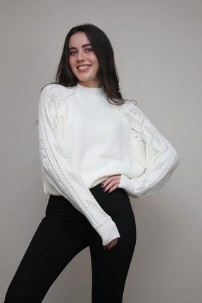 Amazoons Kadın Beyaz Ajurlu Yarasa Kol Triko Kazak