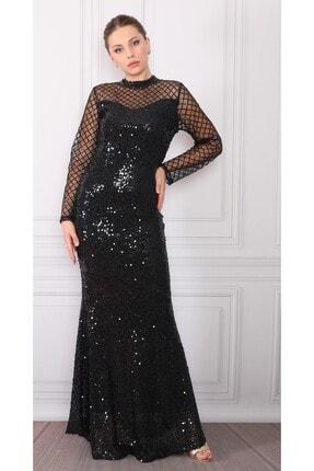 DMR Kadın Siyah Pulpayetli Abiye Elbise