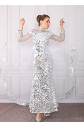DMR Kadın Beyaz Pulpayetli Abiye Elbise