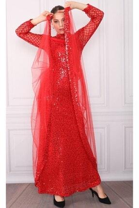 DMR Kadın Kırmızı Pulpayetli Abiye Elbise