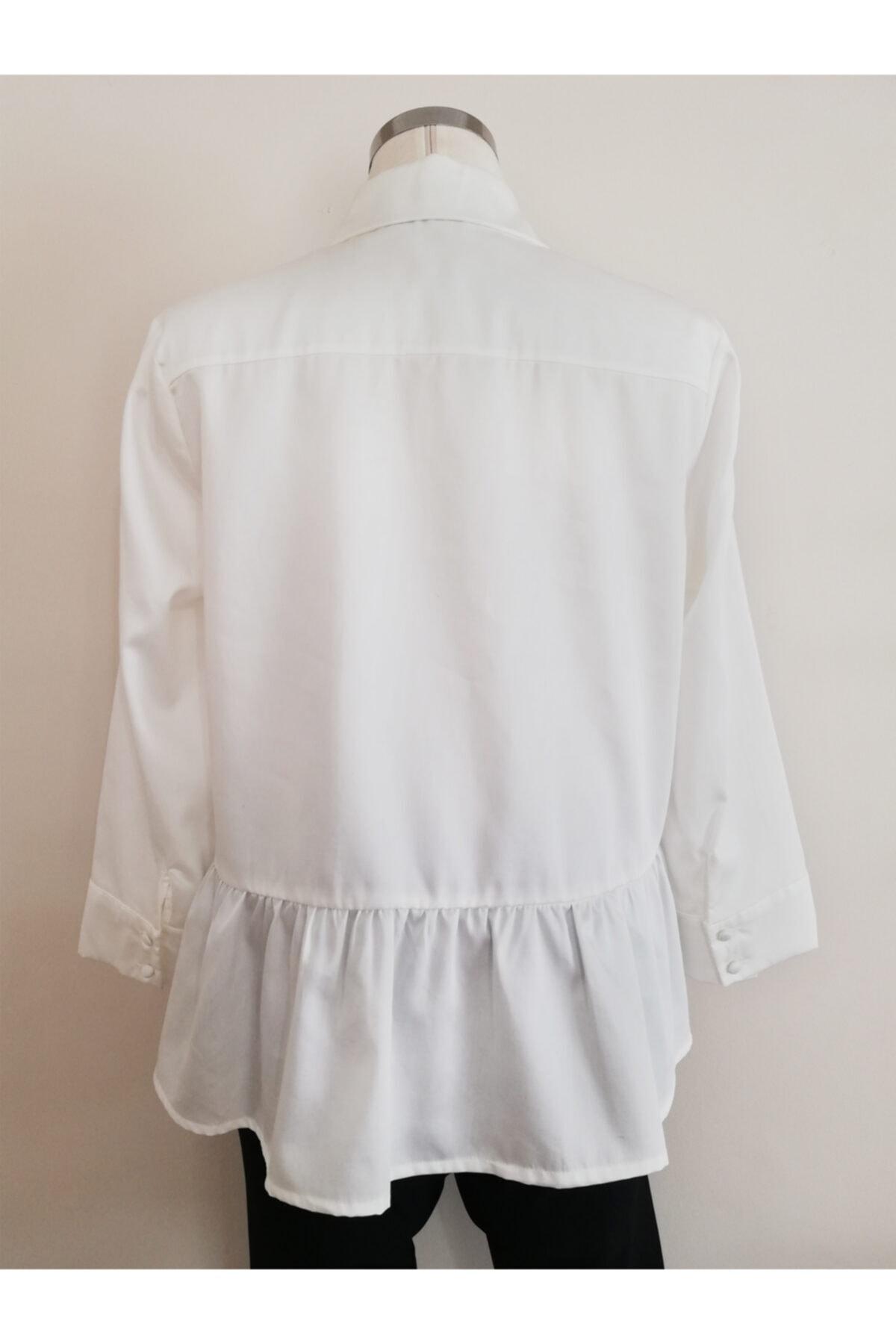 Vekem Kadın Beyaz Pamuk Gömlek 2