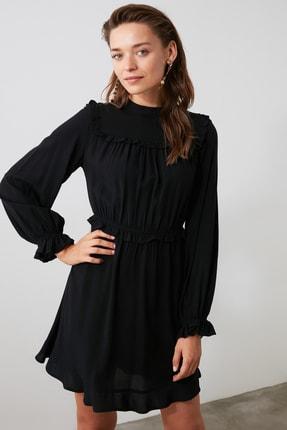 TRENDYOLMİLLA Siyah Fırfırlı Elbise TWOAW21EL0665