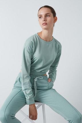 Lela Kadın Yeşil Bisiklet Yaka Beli Lastikli Crop Örme Sweatshirt  5863822