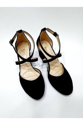 NİLYA Kadın Siyah Yanı Açık Çapraz Bantlı Yuvarlak Burun Ayakkabı