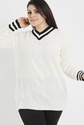 ModaSehle Kadın Büyük Beden Beyaz V Yaka Triko Kazak Vi95003