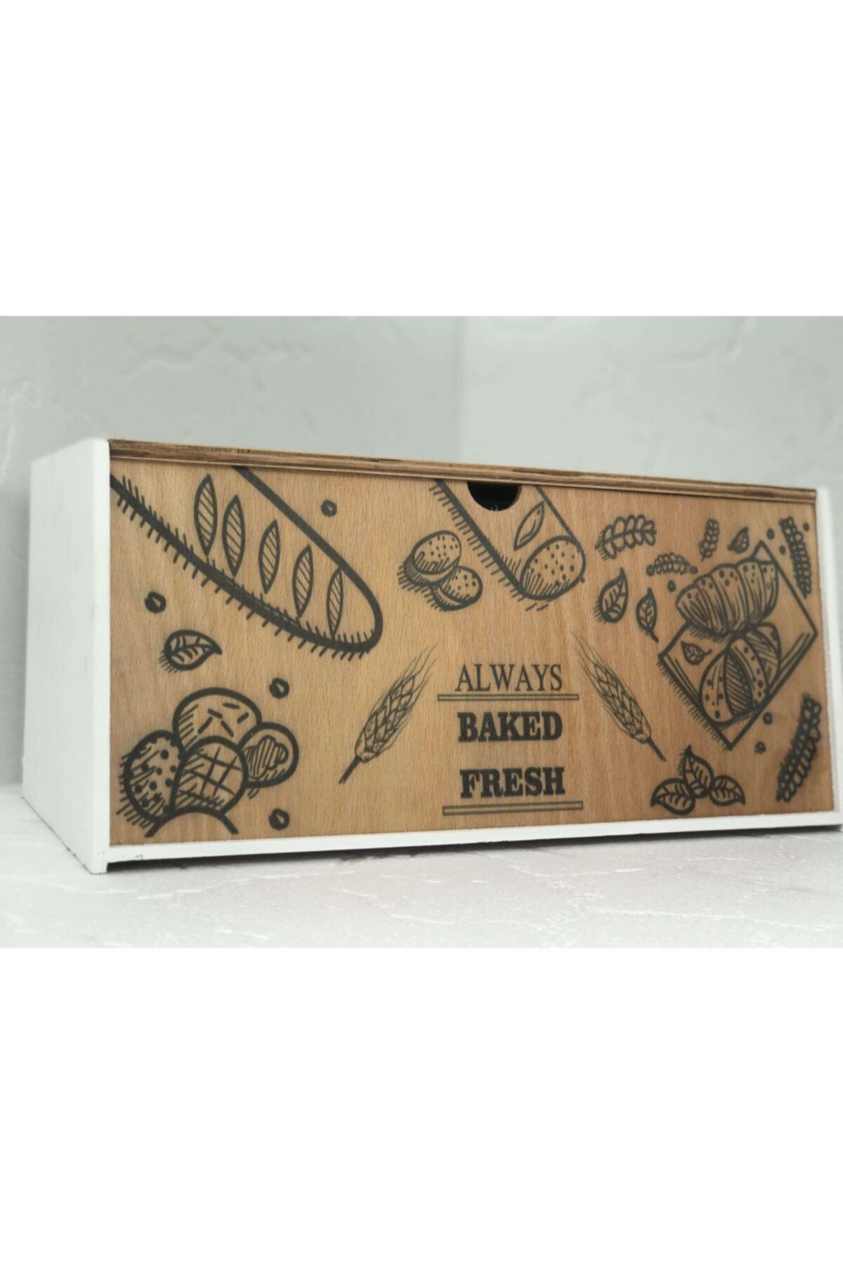 Mercan Beyaz Ahşap Ekmek Kutusu 1
