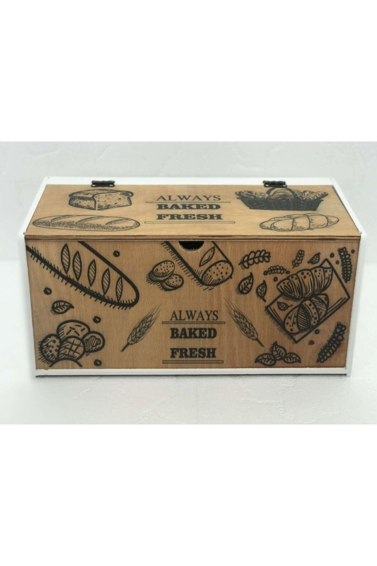 Mercan Beyaz Ahşap Ekmek Kutusu 2