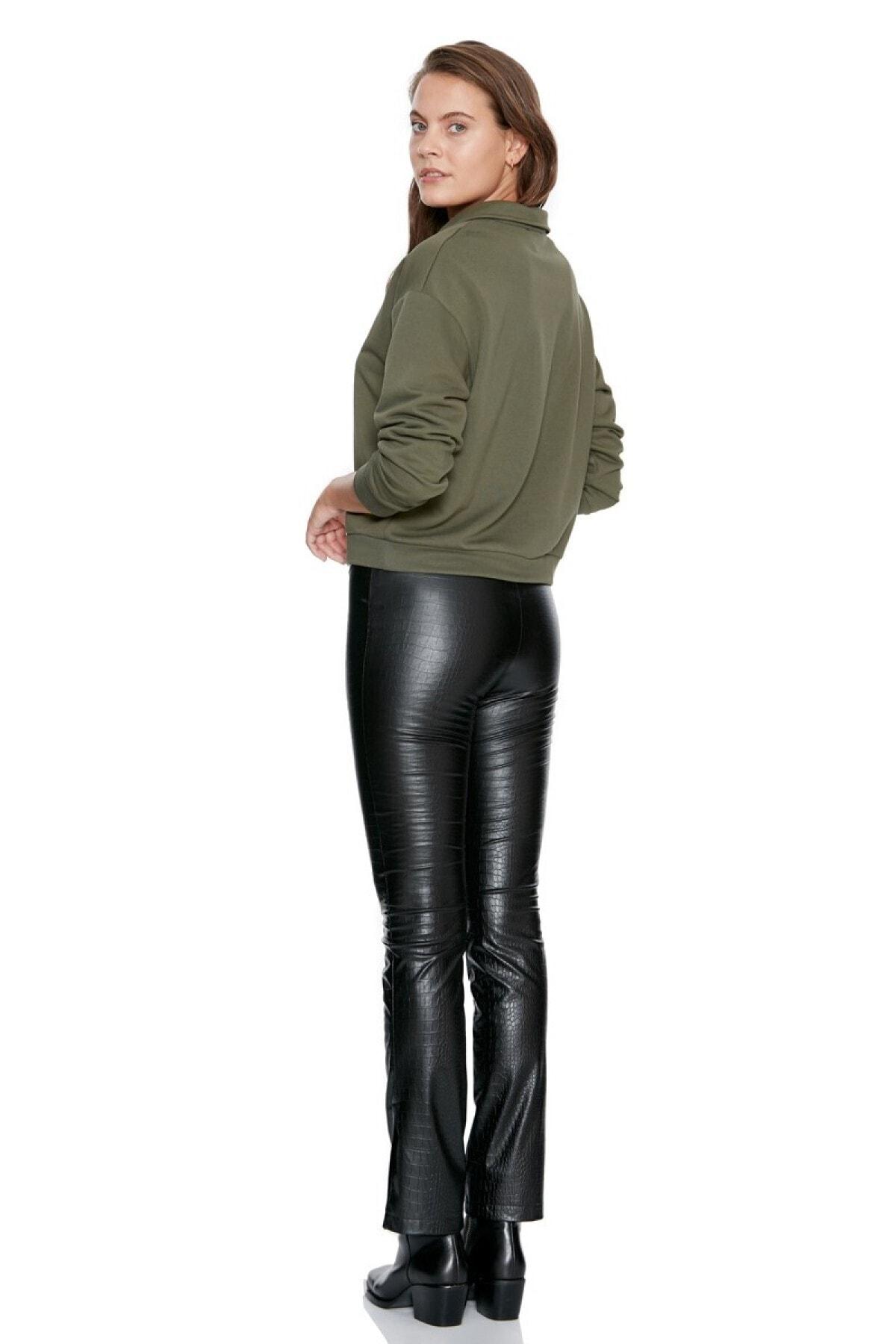Keikei Kadın Siyah Deri Uzun Pantolon 2