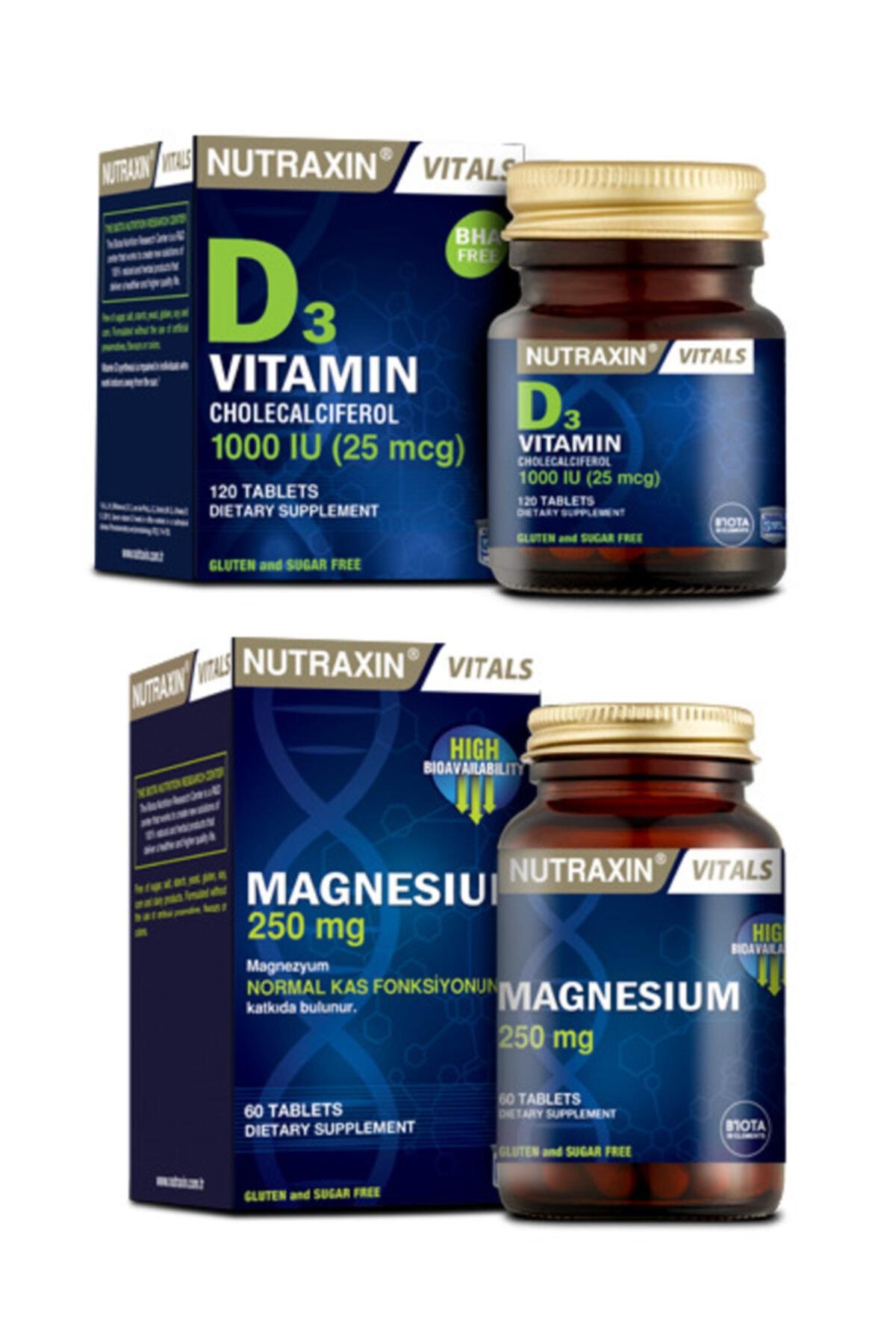 Nutraxin Yetişkinler Için Magnezyum Takviyesi 60 Tablet ve Vitamin D3 1000li 120 Tablet 1