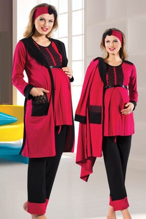 HAYAL Sabahlıklı Lohusa Pijama Takımı Jenika 13258 3lü Sabahlıklı Hamile Pijaması