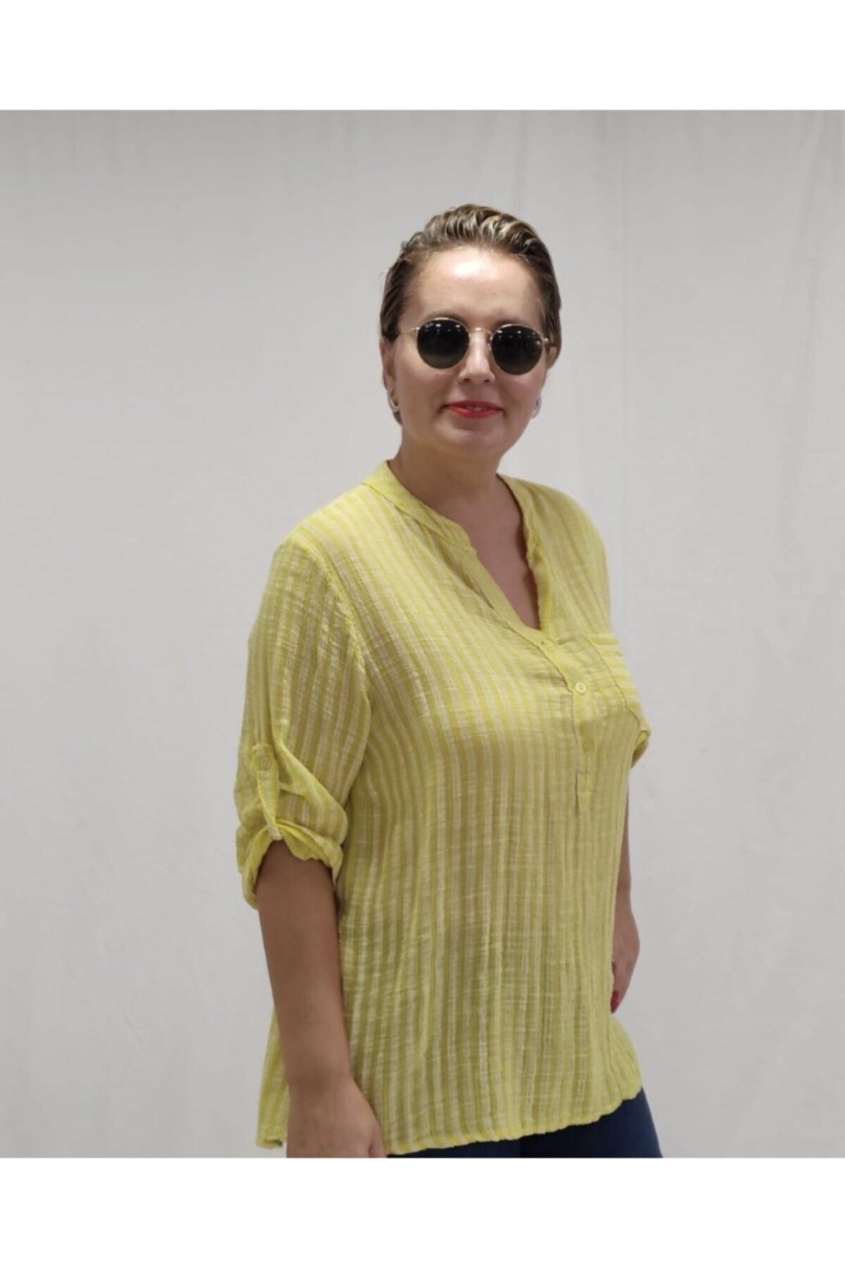 Apex Kadın Sarı Çizgili Gömlek 1
