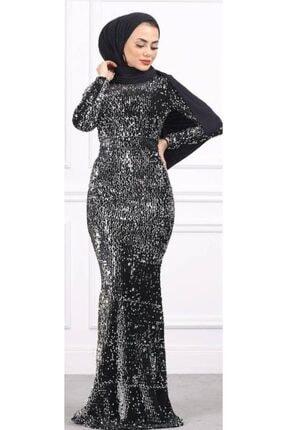 DMR Kadın Siyah Kadife Pullu Abiye Elbise