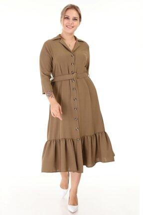 Lir Kadın Haki Büyük Beden Eteği Büzgü Önü Düğmeli Kemerli Truvakar Kol Elbise