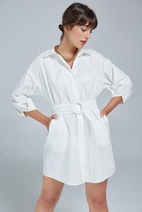 Appleline Kadın Kemer Detaylı Gömlek Elbise