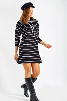 By Saygı Kadın Siyah Çizgili Kapşonlu Sweat Elbise S-21K3750002