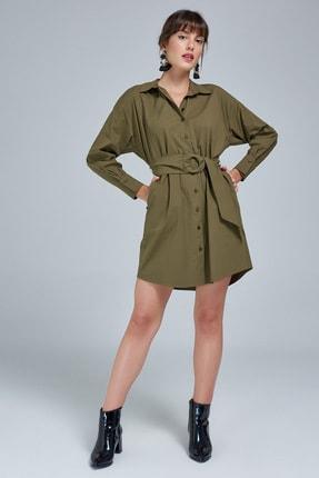 Appleline Kadın Haki Kemer Detaylı Gömlek Elbise