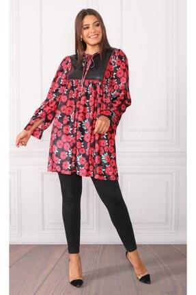 DMR Kadın Kırmızı Çiçekli Kadife Desenli Elbise