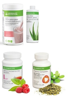 Herbalife Set Ahududu Beyaz Çikolata Shake- Aloe Suyu- 50 Gr Ahududu Aromalı Çay- Thermo Complete