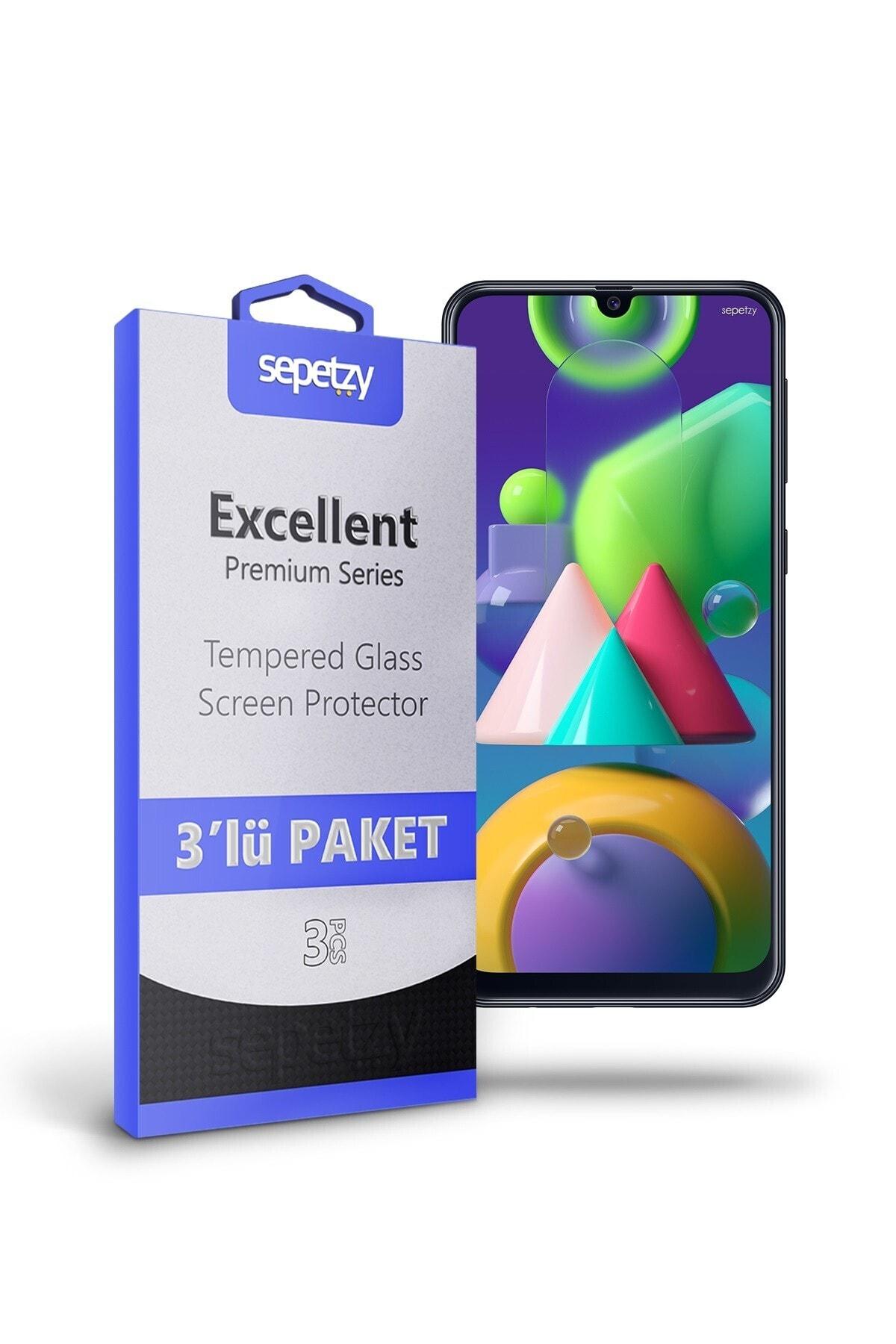 sepetzy Samsung Galaxy M21 Temperli Kırılmaz Cam Ekran Koruyucu 3'lü Paket 1