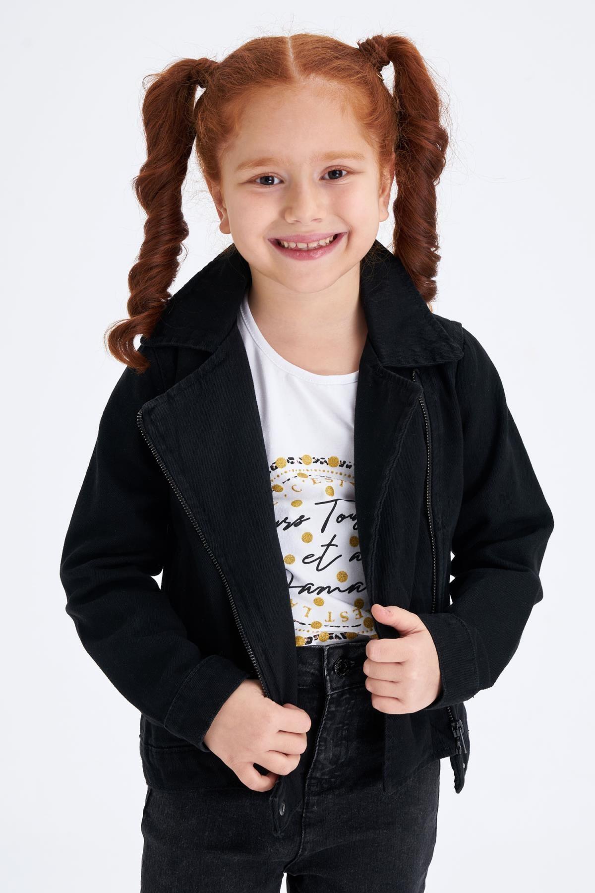 DeFacto Kız Çocuk Siyah Kot Ceket