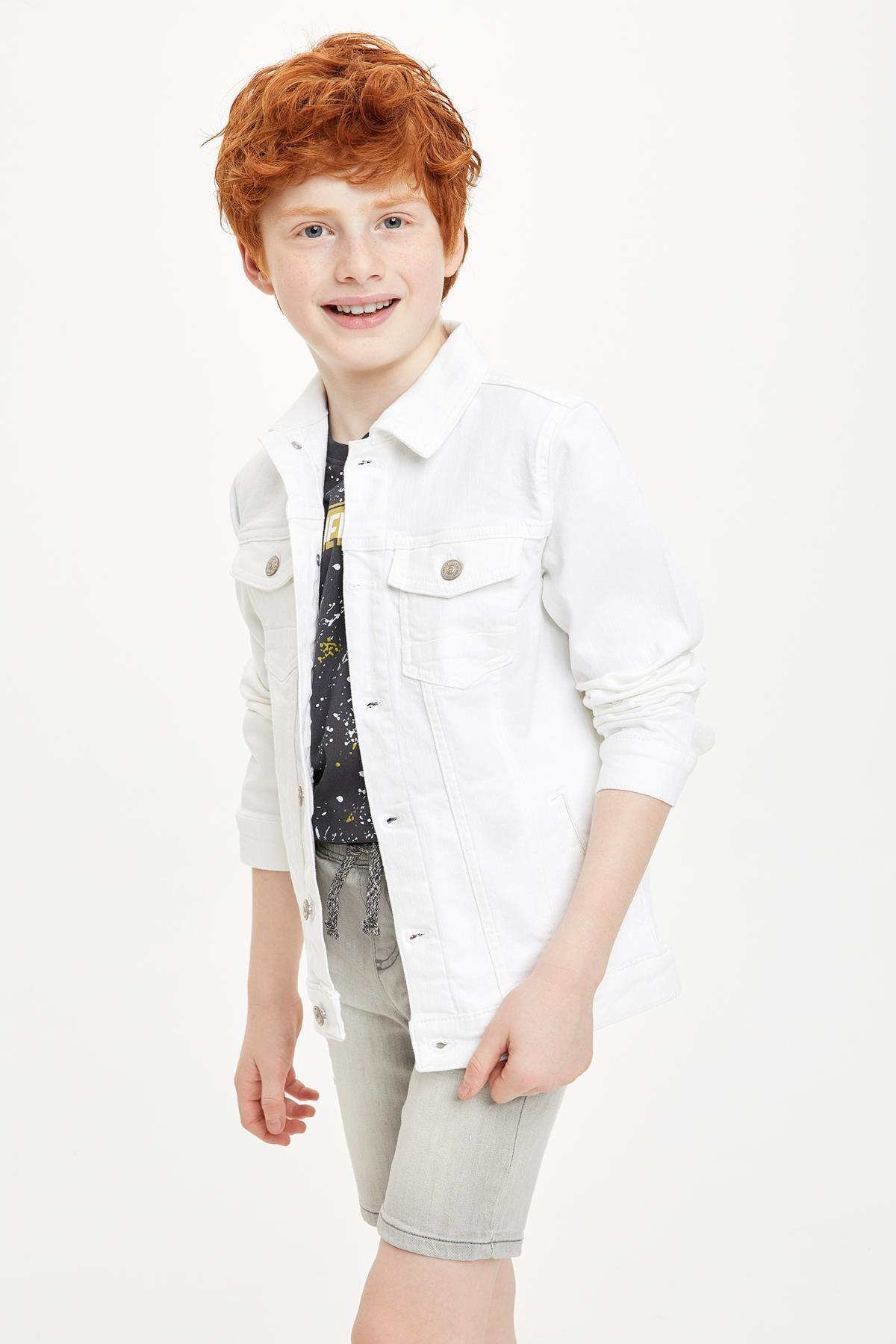 DeFacto Erkek Çocuk Beyaz Kot Ceket