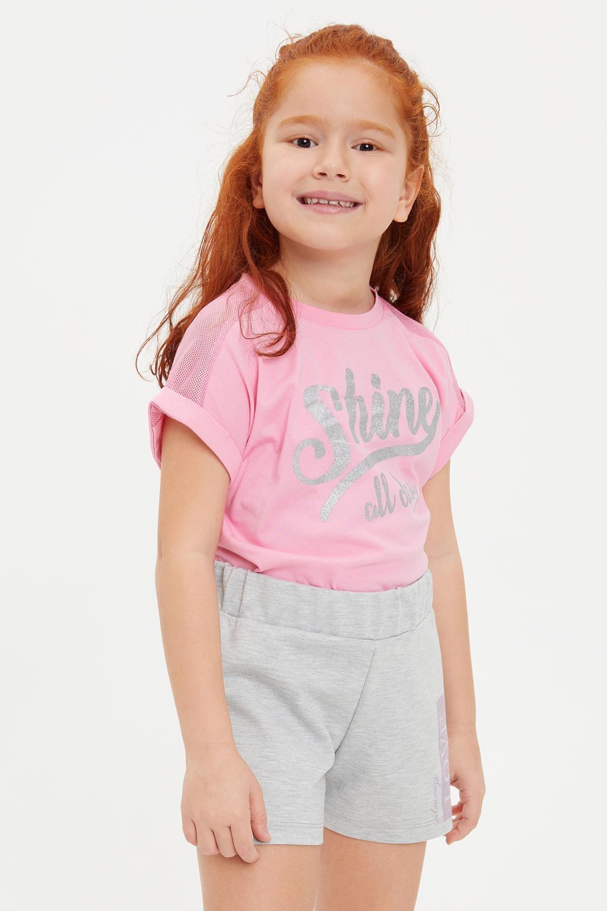 DeFacto Kız Çocuk Baskılı File Detaylı Tişört