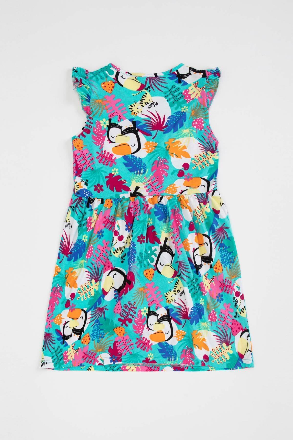 DeFacto Kız Çocuk Beli Büzgülü Desenli Elbise