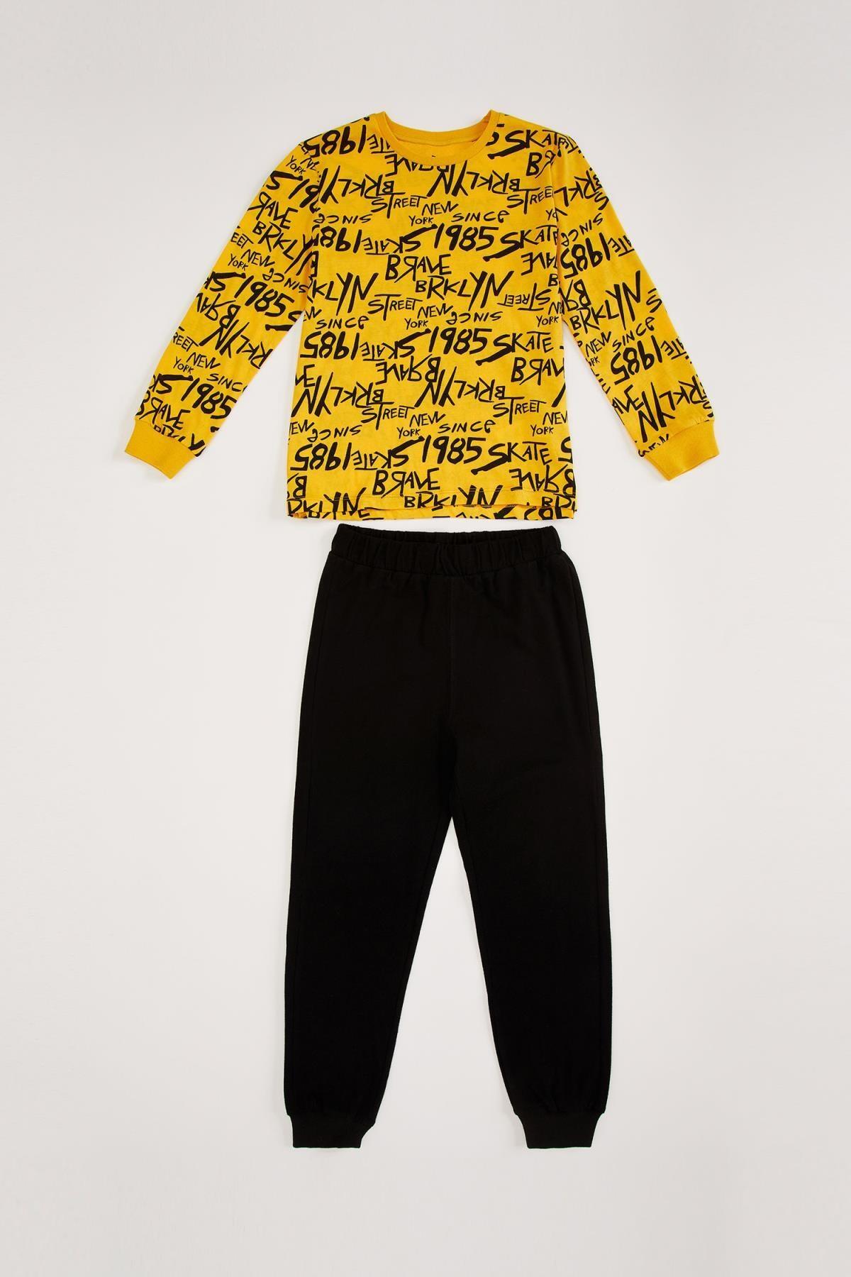 DeFacto Erkek Çocuk Şehir İsimli Yazı Baskılı Uzun Kollu Pijama Takımı