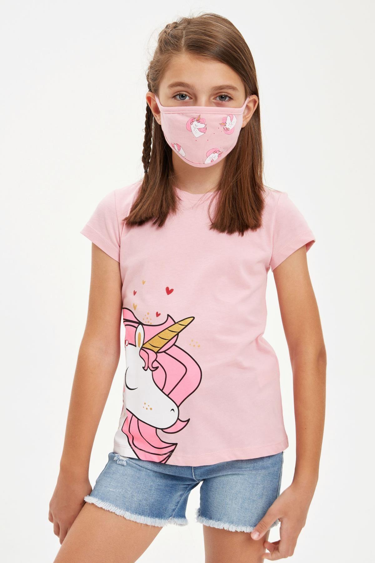 DeFacto Kız Çocuk Unicorn Baskılı Tişört ve Maske