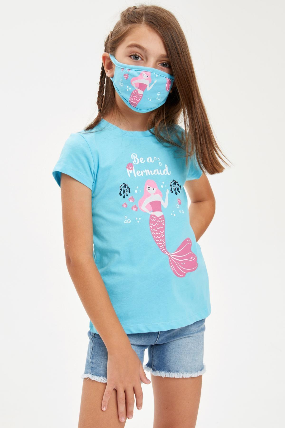 DeFacto Kız Çocuk Mermaid Baskılı Tişört Ve Maske Takım 1