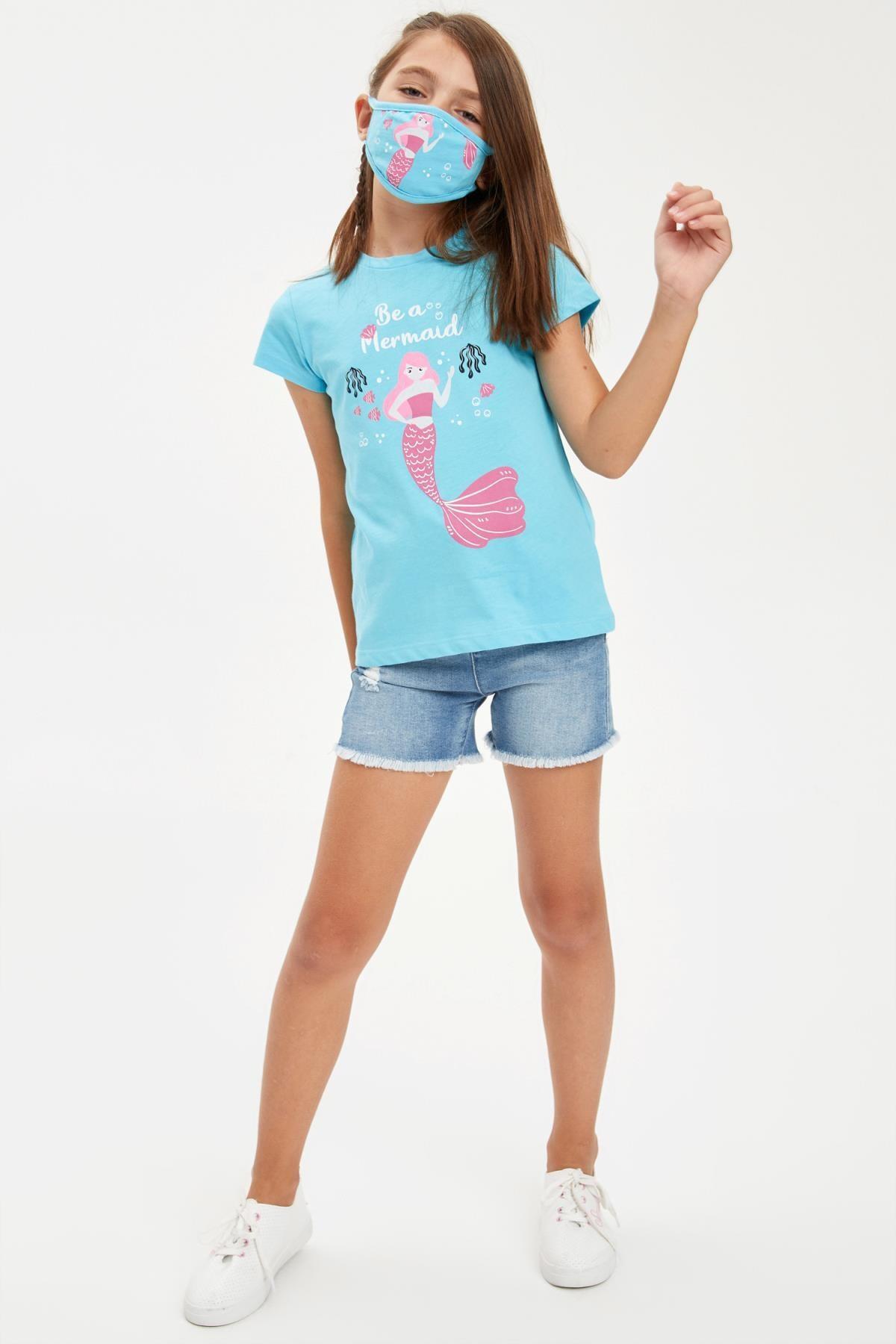 DeFacto Kız Çocuk Mermaid Baskılı Tişört Ve Maske Takım 2