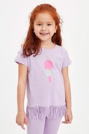 DeFacto Kız Çocuk Baskılı Püskül Detaylı Kısa Kollu T-shirt