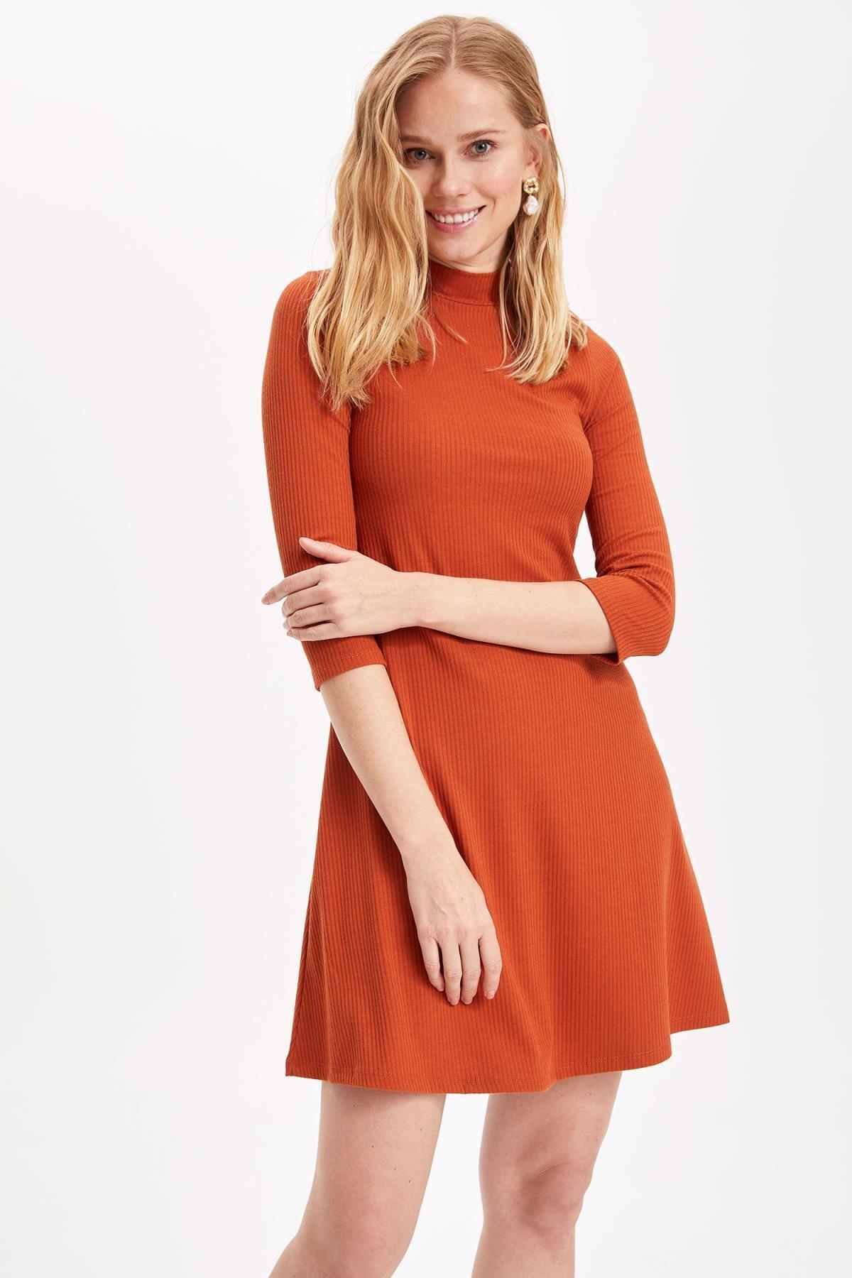 DeFacto Kadın Yüksek Yaka Elbise L0512AZ.19SP.OG356
