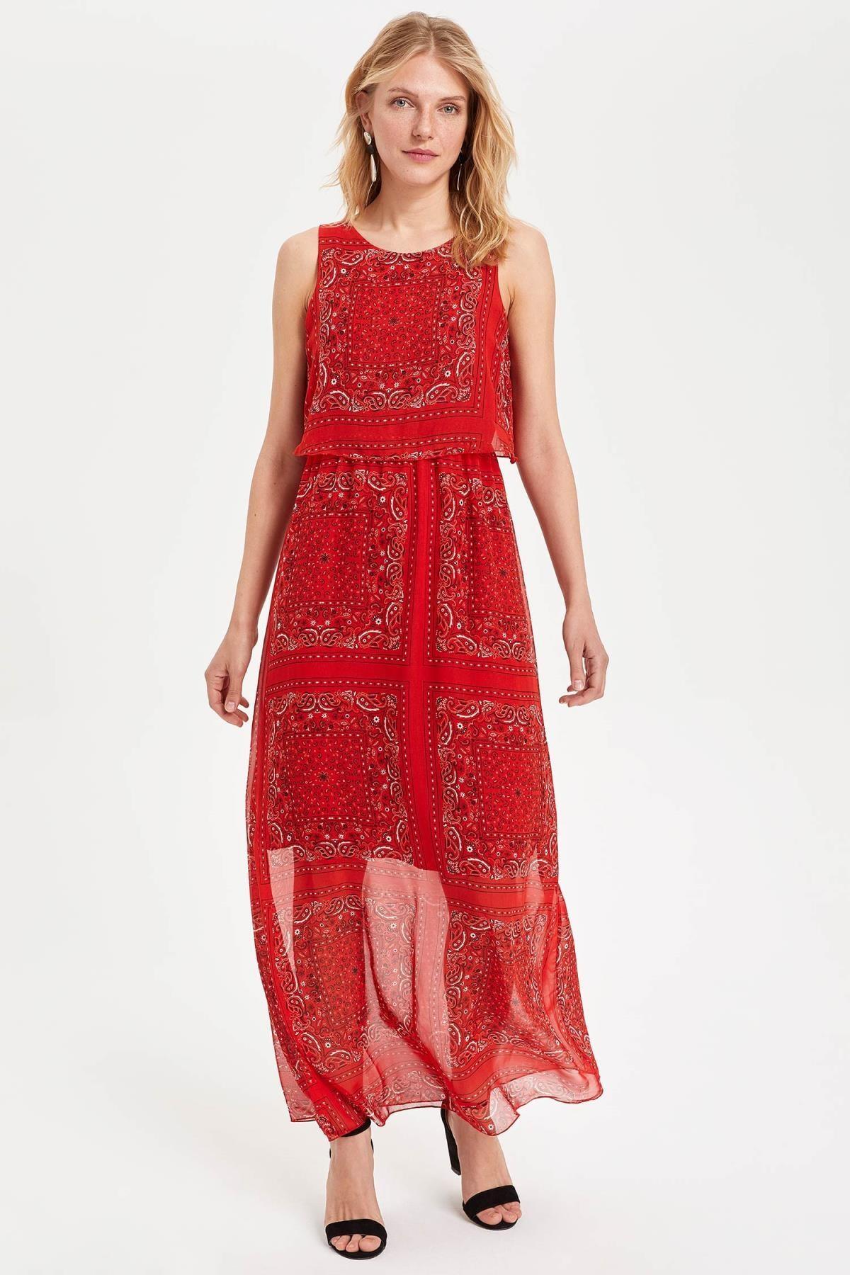 DeFacto Kadın Kırmızı Desenli Elbise H3424AZ.19SM.RD285 1