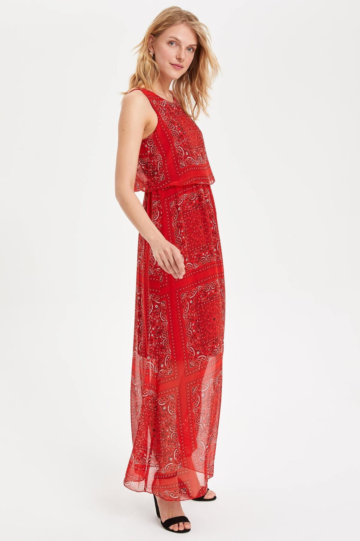 DeFacto Kadın Kırmızı Desenli Elbise H3424AZ.19SM.RD285 2
