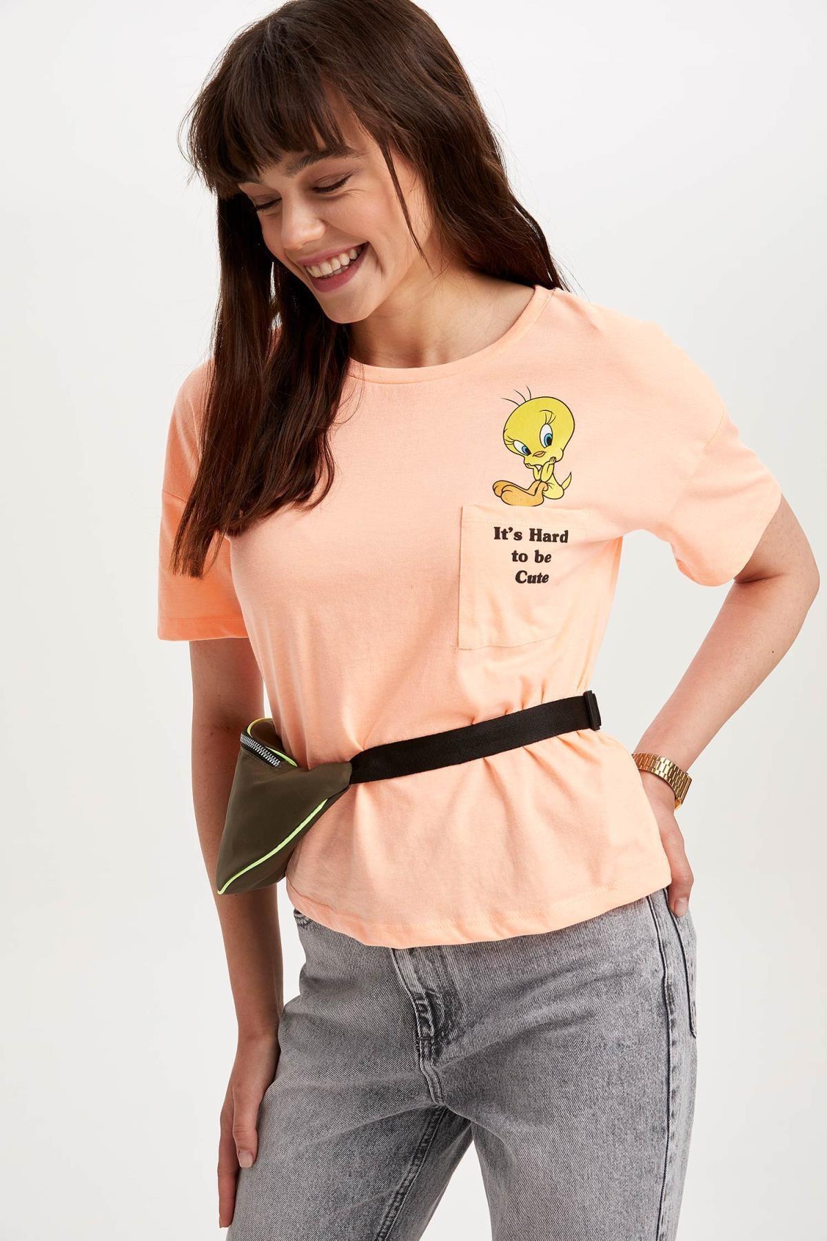 DeFacto Kadın Turuncu Tweety Lisanslı Baskılı T-shirt K9051AZ.19SM.OG384