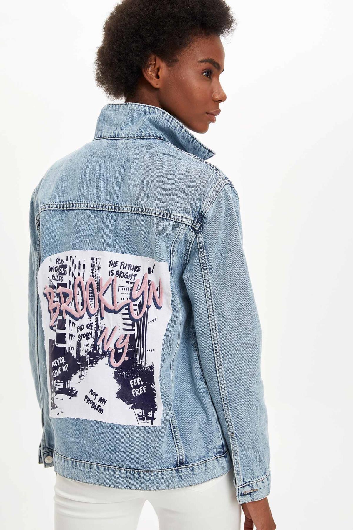 DeFacto Baskılı Oversize Fit Jean Ceket
