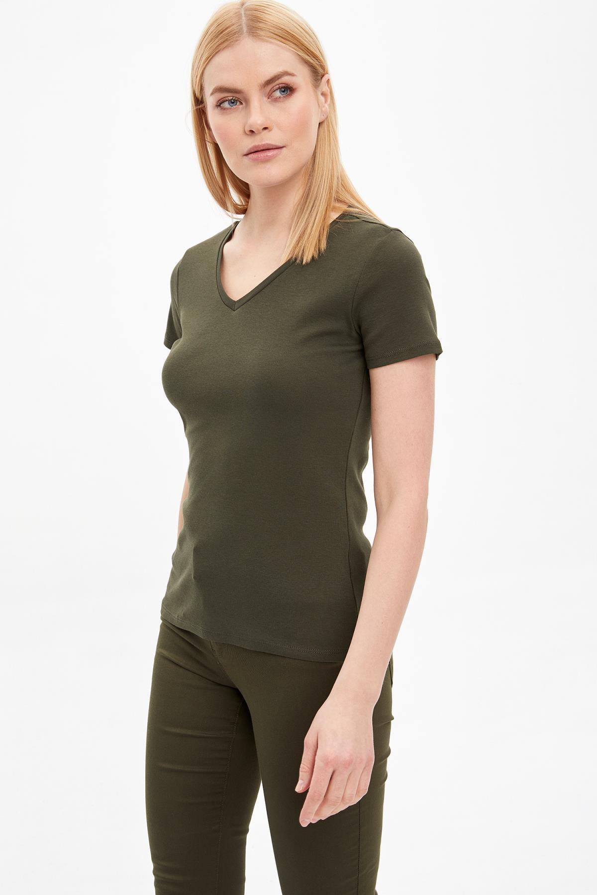 DeFacto Kadın Haki Basic Kısa Kollu T-Shirt I1080AZ.20SP.KH211
