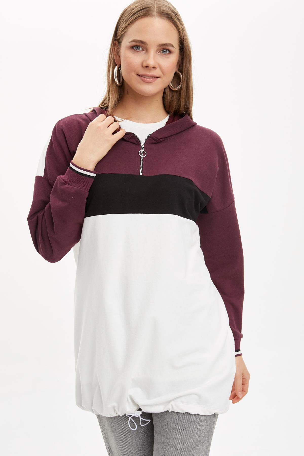 DeFacto Kadın Modest Bordo Kapüşonlu Renk Bloklu Tunik