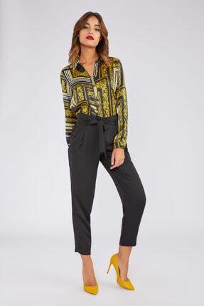 Gusto Kadın Siyah Beli Kuşaklı Pileli Arkası Lastikli Pantolon