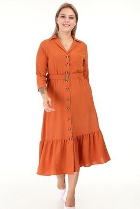 Lir Kadın Turuncu Eteği Büzgü Önü Düğmeli Kemerli Truvakar Kol Büyük Beden Elbise