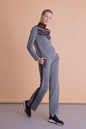 xGIZIA Kadın Antrasit Gri Şerit Detaylı Bol Paça Spor Pantolon