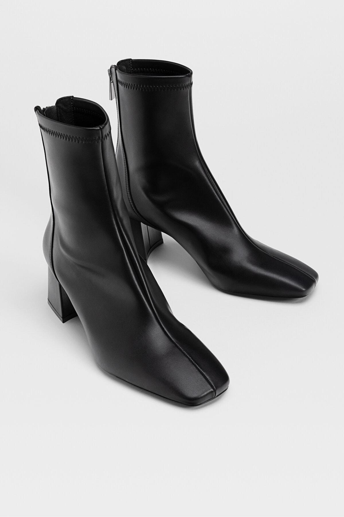Stradivarius Kadın Siyah Streç Bilekli Orta Boy Topuklu Bot 19902670 2