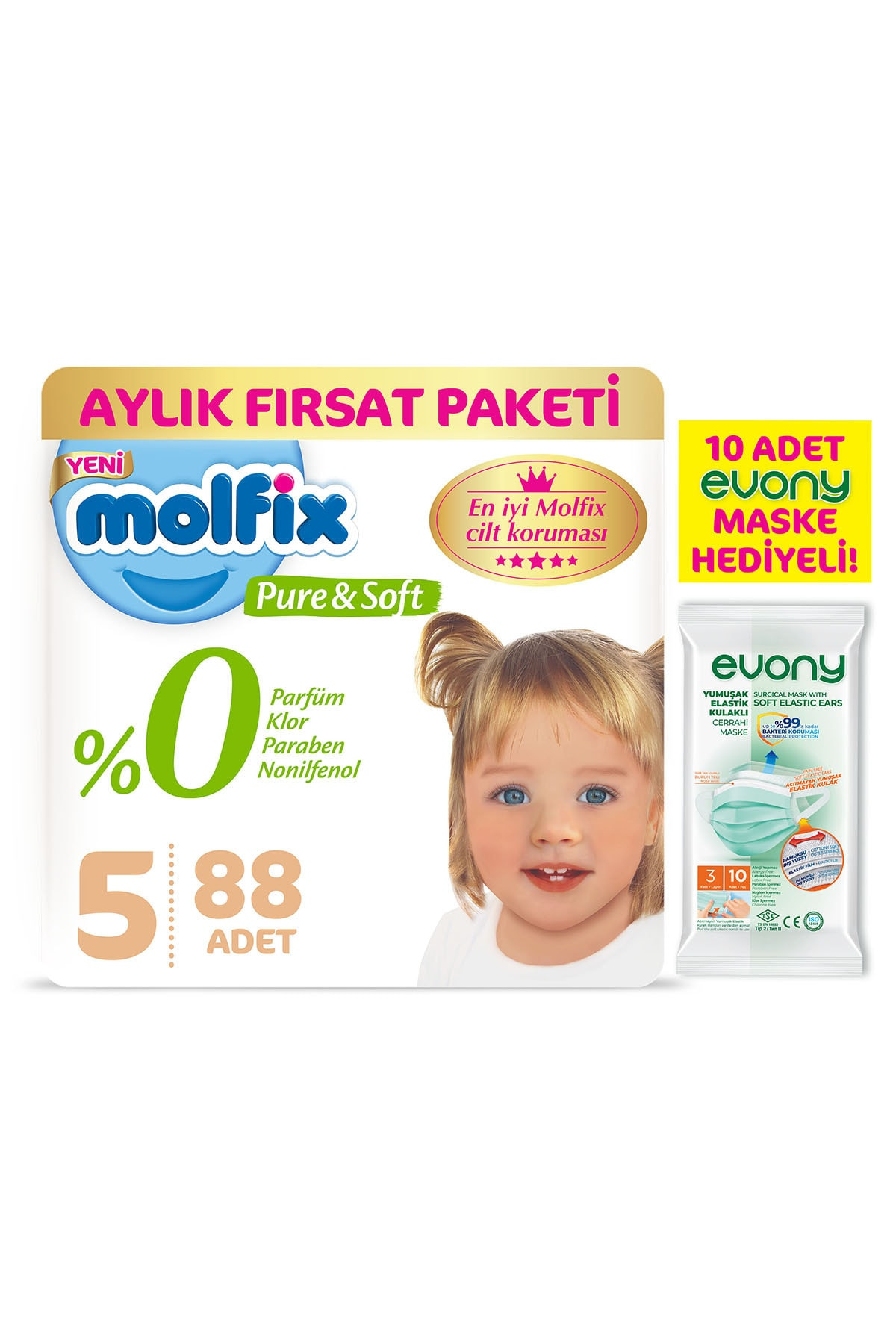 Molfix 5 Beden Junior Bebek Bezi 88 Adet + Evony Maske 10'lu 1