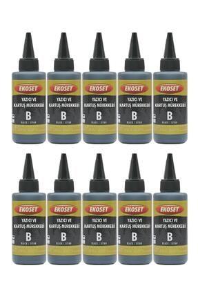 ekoset Epson L300 L310 L355 L365 L382 L386 Uyumlu Siyah Mürekkep 100ml 10'lu Set